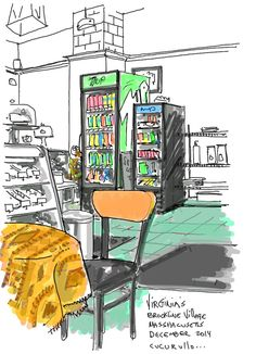 Virginia's bakery Brookline Village, Massachusetts (cafe sketch by Michael Cucurullo)