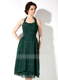 Bridesmaid Dresses - $96.99 - A-Line/Princess Halter Knee-Length Chiffon Bridesmaid Dress With Ruffle (007001892) http://jjshouse.com/A-Line-Princess-Halter-Knee-Length-Chiffon-Bridesmaid-Dress-With-Ruffle-007001892-g1892?pos=your_recent_history_5