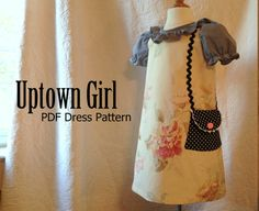 Uptown Girl  Girl's A-Line Dress Pattern PDF. by RubyJeansCloset