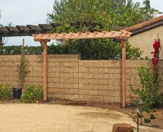 Two-Post Arbor (Options: x Redwood, No Privacy Panel, 10 ft Posts Height… Small Pergola, Deck With Pergola, Pergola Shade, Pergola Plans, Diy Pergola, Pergola Kits, Pergola Ideas, Front Garden Entrance, Wood Arbor