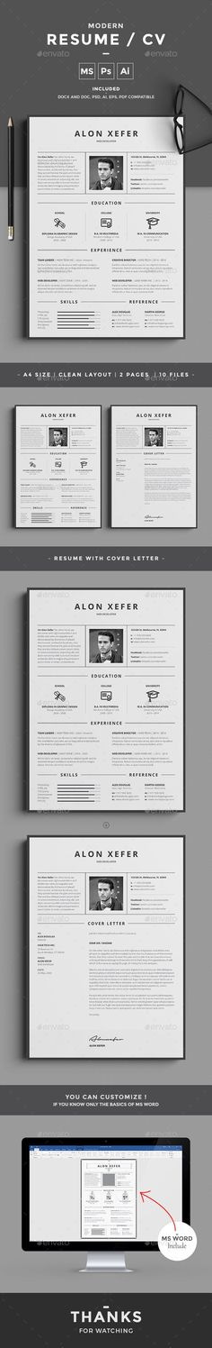 Buy Resume by design-park on GraphicRiver. Resume Word Template / CV Template with super clean and modern look. Clean Resume Template page designs are easy to u. Resume Layout, Job Resume, Resume Tips, Resume Examples, Student Resume, Resume Design Template, Cv Template, Resume Templates, Design Resume