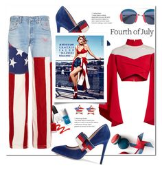 """Red,  White & Blue: Celebrate the 4th!"" by nabilazfr ❤ liked on Polyvore featuring RVDK, Balmain, Gucci and fourthofjuly"