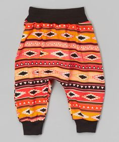 Look at this Orange Aztec Harem Pants - Infant, Toddler & Kids by Dreaming Kids Fashion Kids, Toddler Fashion, Girl Fashion, Newborn Outfits, Baby Boy Outfits, Kids Outfits, Boys Harem Pants, Sewing Baby Clothes, Hipster Babies