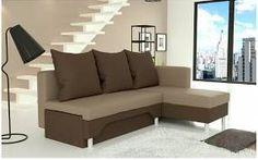 Rozkládací rohová sedací souprava KARIO, úložný prostor, látka Suedine béžová / čokoládová