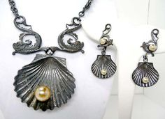 Joseff of Hollywood Oyster Shell Necklace & Earring Demi Parure with Dolphins - Vintage 1930's
