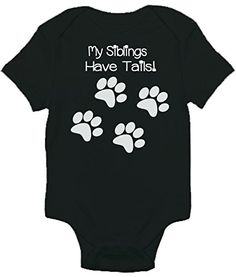 My Siblings Have Tails Funny One-piece Baby Bodysuit Romper for Boys and Girls (3-6 Months  Black)