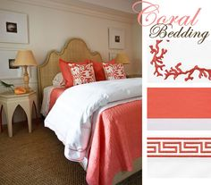 Coral & tan chic cottage bedroom design with tan burlap headboard with nailhead trim, tan Moroccan table nightstand, tan lamps, seagrass rug and coral duvet and pillows. Coral Bedding, Coral Bedroom, White Bedding, White Linens, Headboard Art, Rattan Headboard, Headboards, Bedroom Decor, Head Boards