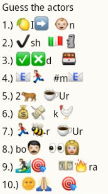 Whatsapp Guess Puzzle - Actor Names 1 Mind Games Puzzles, Maths Puzzles, Name That Movie, Guess The Movie, Emoji Movie, Funny Emoji, Funny Jokes, Kitty Party Games, Kitty Games