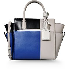 Reed Krakoff Large Leather Bag (3 400 BGN) ❤ liked on Polyvore featuring bags, handbags, shoulder bags, blue, white purse, leather shoulder bag, white leather shoulder bag, real leather handbags and leather purse