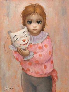 "Big Eyes ""Clown"" ~ by Margaret Keane Margaret Keane Artwork, Big Eyes Margaret Keane, Keane Big Eyes, Margareth Keane, Keane Artist, Illustrations, Illustration Art, Big Eyes Paintings, Big Eyes Artist"