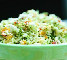 Omega Rich Broccoli Hemp Slaw with Tangy Mustard Dressing (raw, vegan, GF) Raw Vegan Recipes, Healthy Eating Recipes, Vegetarian Recipes, Vegan Food, Healthy Food, Vegan Raw, Paleo Vegan, Vegan Meals, Healthy Salads