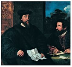 Titian Georges dArmagnac Bishop of Rodi with his secretary Guillaume Philandrier circa 1536