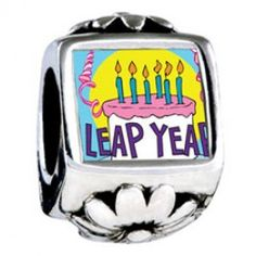 Leap Year Birthday Cake Photo Flower Charmss  Fit pandora,trollbeads,chamilia,biagi,soufeel and any customized bracelet/necklaces. #Jewelry #Fashion #Silver# handcraft #DIY #Accessory