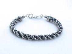 Black and Gunmetal Beaded Bracelet, Spiral Design on Etsy, $24.00