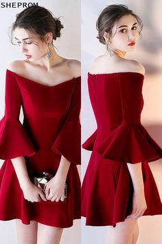57028d0177 Burgundy Off Shoulder Short Homecoming Dress with Bell Sleeves -  64.38   HTX86016 - SheProm.com
