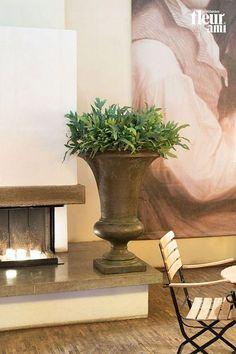 Amphora Vase Verdrigris-bronze Large Round Tall Polystone Planter D52 H80 cm