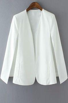 Solid Color Cape-Style Blazer WHITE: Blazers   ZAFUL