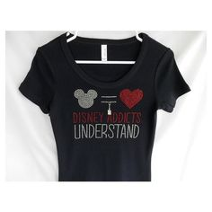 Rhinestone Disney Addicts Understand With a Removable Castle Charm or... ($29) ❤ liked on Polyvore featuring tops, t-shirts, black, women's clothing, crew neck t shirt, black t shirt, rhinestone shirts, graphic tees and sparkle shirt