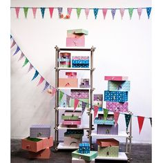 Box heaven from Rie Elise Larsen. Party Flags, Craft Organization, Organizing Crafts, Bright Homes, Decorative Accessories, Color Pop, Scandinavian, Kids Room, Great Gifts