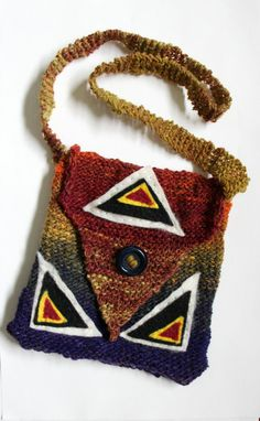 Knit bag multi colored purse wool bag small by FruitofPhalanges, $30.00