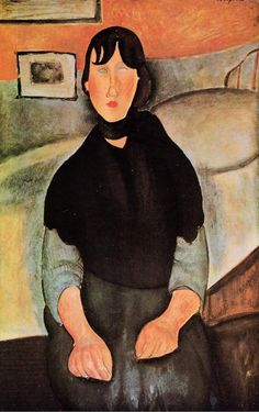Painting by Amedeo Modigliani (1884-1920), 1918, Dark Young Woman Seated by a Bed, Oil on canvas.