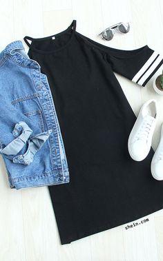 tumblr outfit- black cotton dress+denim jacket.