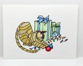 Watercolor Cat Christmas Card, Kitty Bargain, Free Shipping