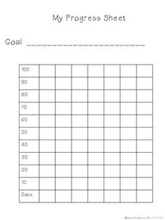 I use this chart to let student collect data on their own progress toward speech and language goals.