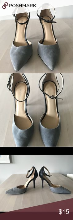 BCBGeneration blue suede heels Cute and comfortable heels.  Featuring ankle strap for stability.  Only worn once, my feet have grown and these don't fit anymore. BCBGeneration Shoes Heels