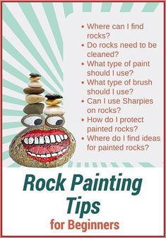 Rock Painting Tips for Beginners – Where to Find Rocks – Best Brushes – Paints – How to Seal and Protect. Rock Painting Tips for Beginners – Where to Find Rocks – Best Brushes – Paints – How to Seal and Protect. Pebble Painting, Pebble Art, Painting Tips, Stone Painting, Spray Painting, Rock Art Painting, Rock Painting Ideas For Kids, Rock Painting Supplies, Painting People