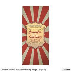 サーカスのカーニバルのヴィンテージの結婚式プログラム