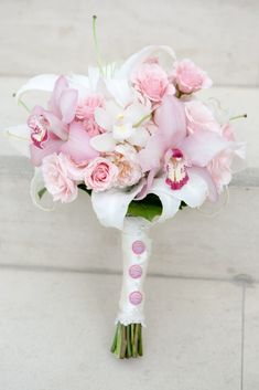 Pink and white roses & cymbidium orchids bouquet - I absolutely LOVE this!!
