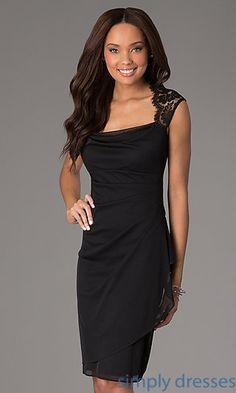 Knee Length Ruched Dress with Lace Detailing at SimplyDresses.com