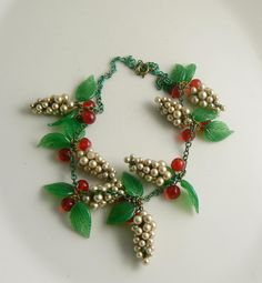 Early Miriam Haskell Glass Pearl Clusters, Red Glass Berries and Leaves Necklace