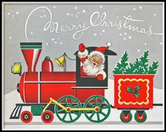 Shop Merrry Christmas Vintage Train Red Xmas Holiday Poster created by Personalize it with photos & text or purchase as is! Christmas Tree Scent, Christmas Train, Noel Christmas, Retro Christmas, Vintage Christmas Cards, Xmas Cards, Christmas Greetings, Vintage Cards, Christmas Things