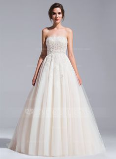 Ball-Gown Strapless Cathedral Train Beading Appliques Lace Sequins Lace Up Strapless Sleeveless Church General Plus No Spring Summer Fall Other Colors Tulle Wedding Dress