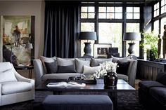 Masculine Design Inspired by Menswear by Slettvoll Formal Living Rooms, Living Room Grey, Living Room Interior, Home Living Room, Living Room Designs, Living Room Decor, Living Spaces, Living Room Inspiration, Design Inspiration