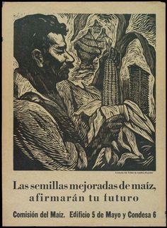 """Anónimo. s/f """"Las semillas mejoradas del maíz afirmarán tu futuro. Comisión del Maíz..."""", 1950. Cartel, Grabado en linóleo.  47(h) x 35.5(w) cms. Image Source:  Princeton University Library Colecciones Digitales"""
