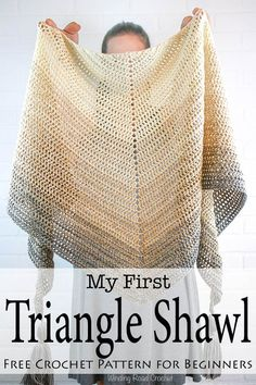 Simple, beautiful and customizable - My First Triangle Shawl is designed to really let the beauty of the yarn shine. This free crochet shawl pattern will walk you through the basics of making and shaping a triangle shawl. This crochet patten is designed f Crochet Prayer Shawls, Crochet Shawl Free, Crochet Shawls And Wraps, Crochet Scarves, Easy Crochet, Crochet Stitches, Knit Crochet, Crochet Hats, Knitting Scarves