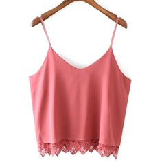 Spaghetti Strap Sleeveless Lace Splicing Tank Top ($14) ❤ liked on Polyvore featuring tops, red lace tank, lace tank, sleeveless tank, sleeveless tops and red singlet