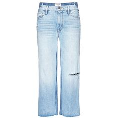 Frame Denim 'Le Reconstructed' cropped wide leg jeans (20,025 INR) ❤ liked on Polyvore featuring jeans, blue, cropped jeans, cropped ripped jeans, destroyed jeans, destroyed crop jeans and distressed jeans