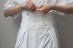DIY: Corseted White T Shirt or What to Do with the BFs old T shirts #2