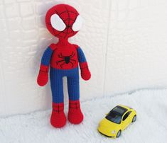 Amigurumi Spiderman (Örümcek Adam) Tarifi See other ideas and pictures from the category menu…. Amigurumi Doll, Amigurumi Patterns, Crochet Patterns, Spiderman Spider, Pokemon, Baby Bows, New Baby Gifts, Stuffed Toys Patterns, Crochet Dolls