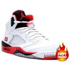 e920bc3684d Nike Air Jordan 5 V Retro Blanc Rouge Feu Noir Hommes Authentique
