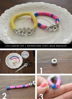 DIY | RHINESTONE VINYL BEAD BRACELET