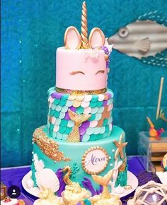 A little bit of everything birthday cake for a proper girlie girl - mermaids and unicorns