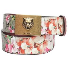 69fc5465990 gucci-gg-blooms-belt-with-plaque-buckle (635 BGN) ❤ liked on Polyvore  featuring accessories