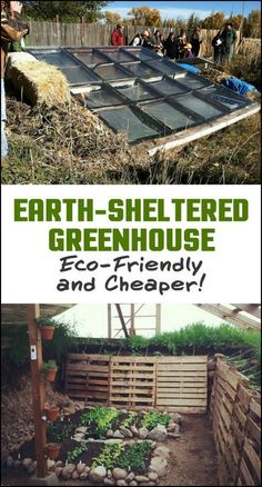 Earth Sheltered Greenhouse This type of greenhouse is relatively simple to construct and much cheaper than conventional pre-manufactured greenhouses. Do you want one in your own backyard? Diy Greenhouse Plans, Greenhouse Gardening, Greenhouse Wedding, Small Greenhouse, Homemade Greenhouse, Greenhouse Staging, Greenhouse Vegetables, Pallet Greenhouse, Porch Greenhouse
