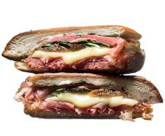 Fig and Prosciutto - Layer pieces of ciabatta or a sturdy sandwich roll with grated fontina or mozzarella cheese, thinly sliced prosciutto, sliced figs, and arugula. If you have a panini maker, grill the sandwich until it's hot and crispy. Otherwise, cook it on a grill pan or skillet until the cheese melts.