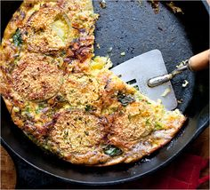 "NYT Cooking: GREEN TOMATO FRITTATA This is an adaptation of a recipe I came across in ""The Savory Way,"" by Deborah Madison. The acidic green tomatoes are nicely balanced by the neutral flavor of the eggs. Veggie Recipes, Vegetarian Recipes, Cooking Recipes, Cooking Eggs, Veggie Dishes, Vegetarian Thanksgiving, Thanksgiving Recipes, Frittata Recipes, Pizza"